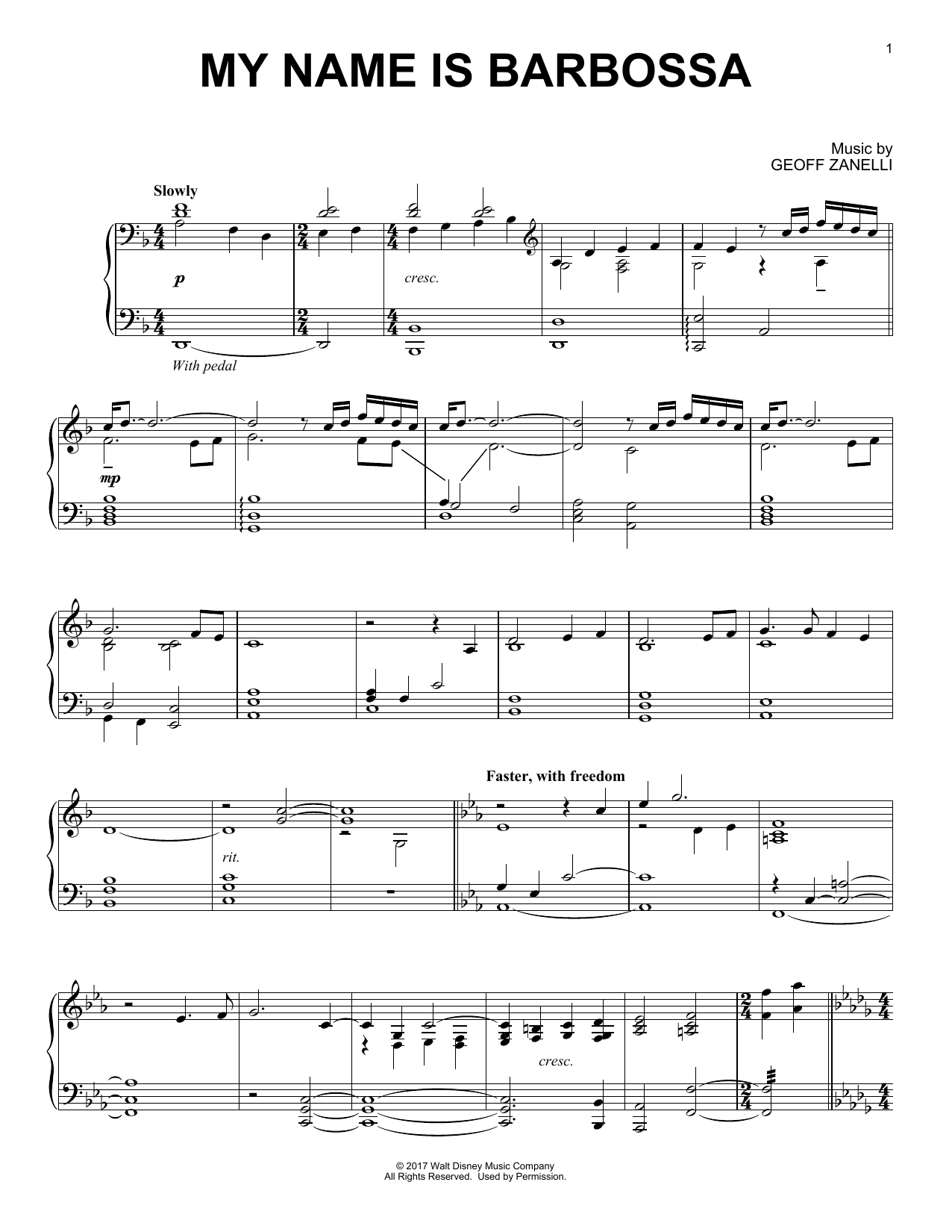 Geoff Zanelli My Name Is Barbossa sheet music notes and chords. Download Printable PDF.