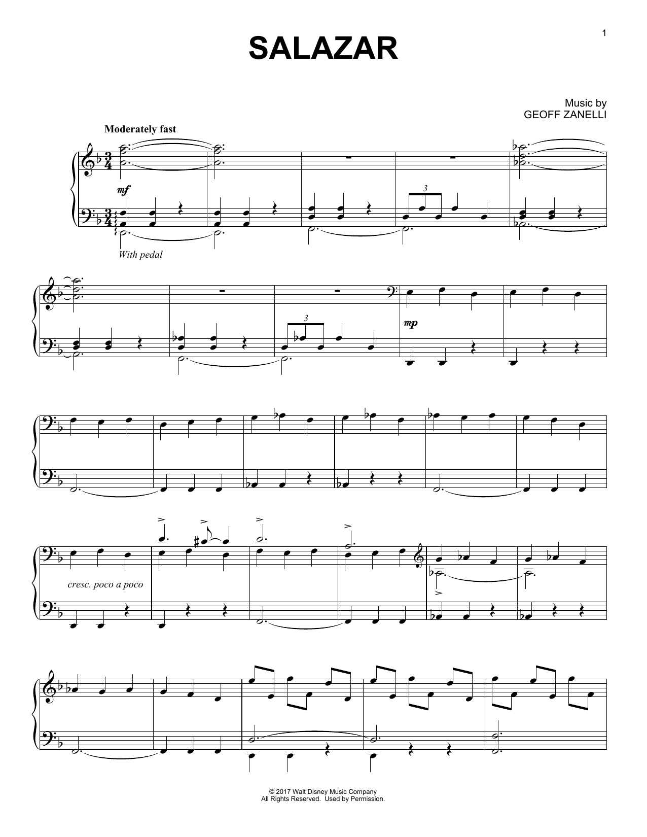 Geoff Zanelli Salazar sheet music notes and chords. Download Printable PDF.