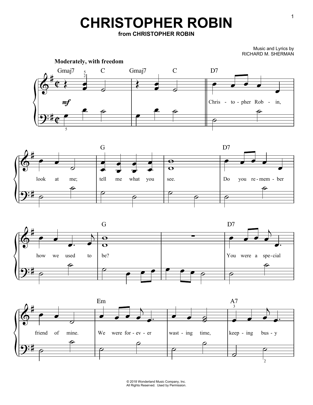 Geoff Zanelli & Jon Brion Christopher Robin (from Christopher Robin) sheet music notes and chords. Download Printable PDF.