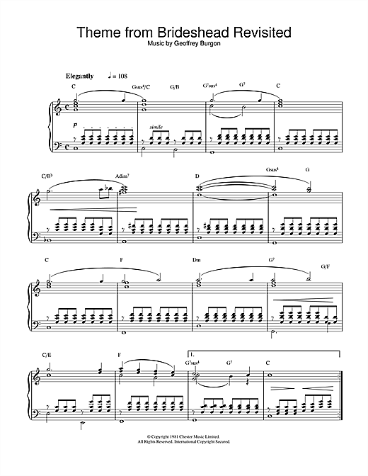 Geoffrey Burgon Brideshead Revisited sheet music notes and chords. Download Printable PDF.