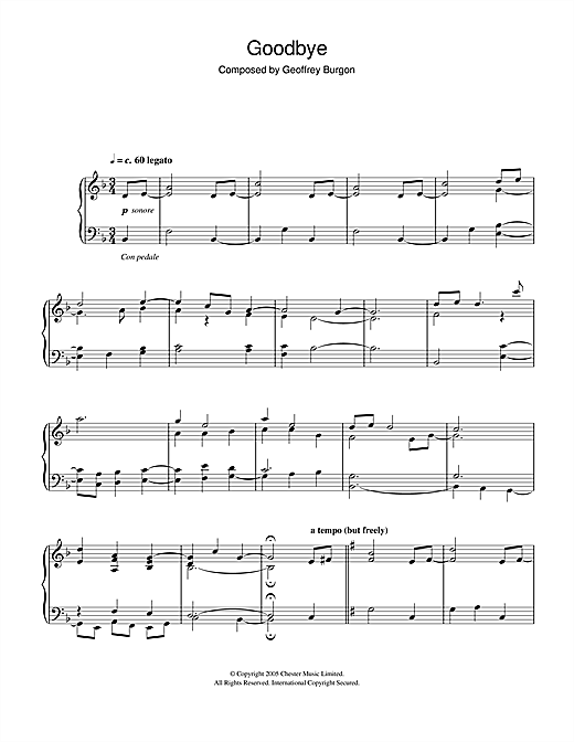 Geoffrey Burgon Goodbye sheet music notes and chords. Download Printable PDF.