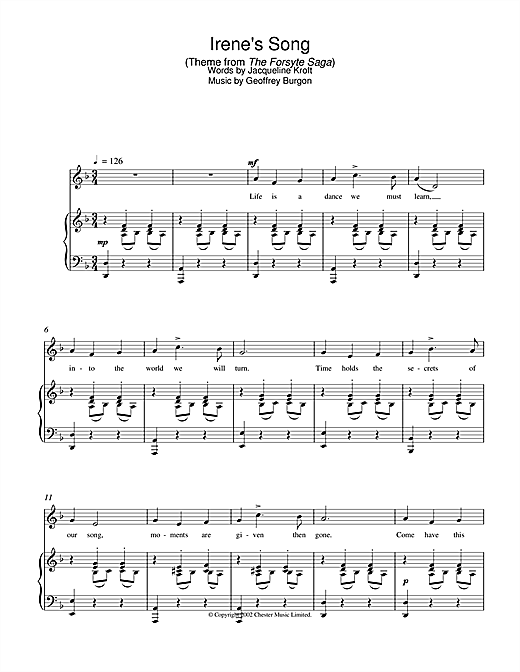 Geoffrey Burgon Irene's Song (theme from The Forsyte Saga) sheet music notes and chords. Download Printable PDF.