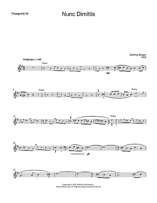 Geoffrey Burgon Nunc Dimittis (theme from Tinker, Tailor, Soldier, Spy) sheet music notes and chords