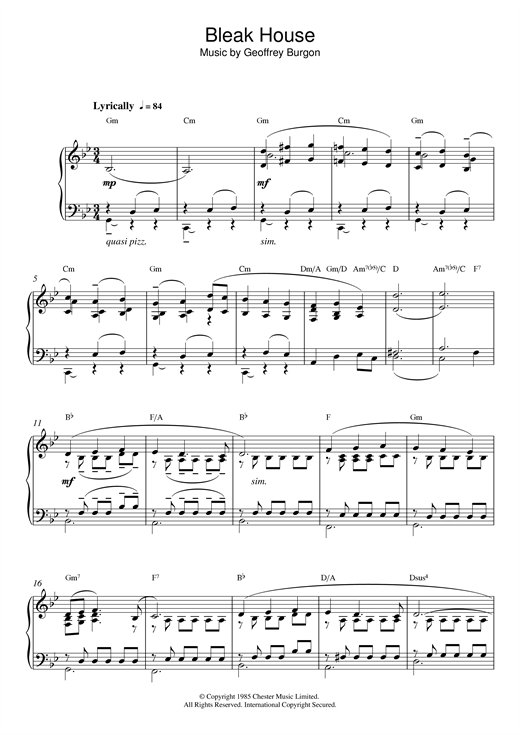 Geoffrey Burgon Theme from Bleak House sheet music notes and chords. Download Printable PDF.