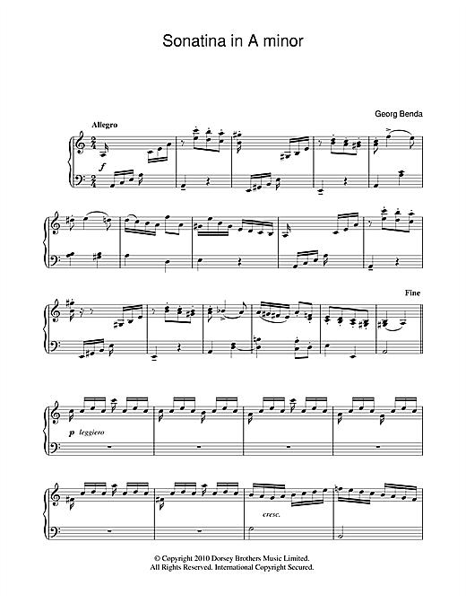 Georg Benda Sonatina In A Minor sheet music notes and chords. Download Printable PDF.