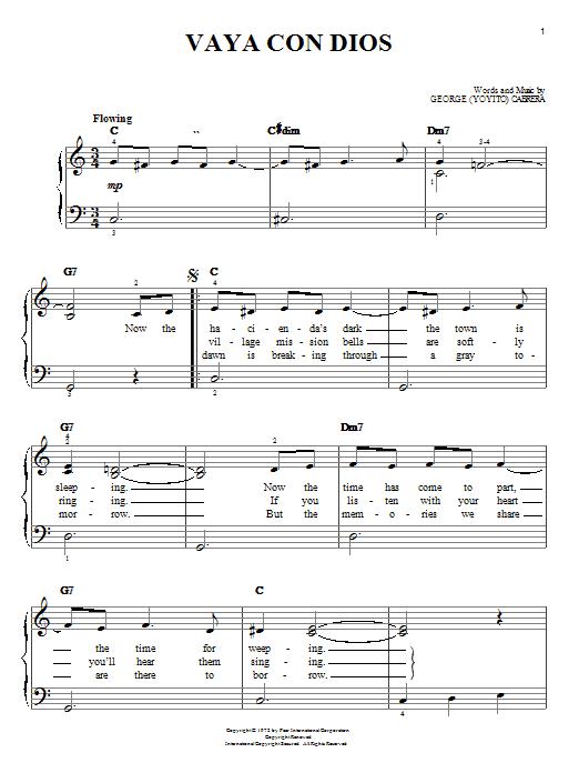 George (Yoyito) Cabrera Vaya Con Dios sheet music notes and chords