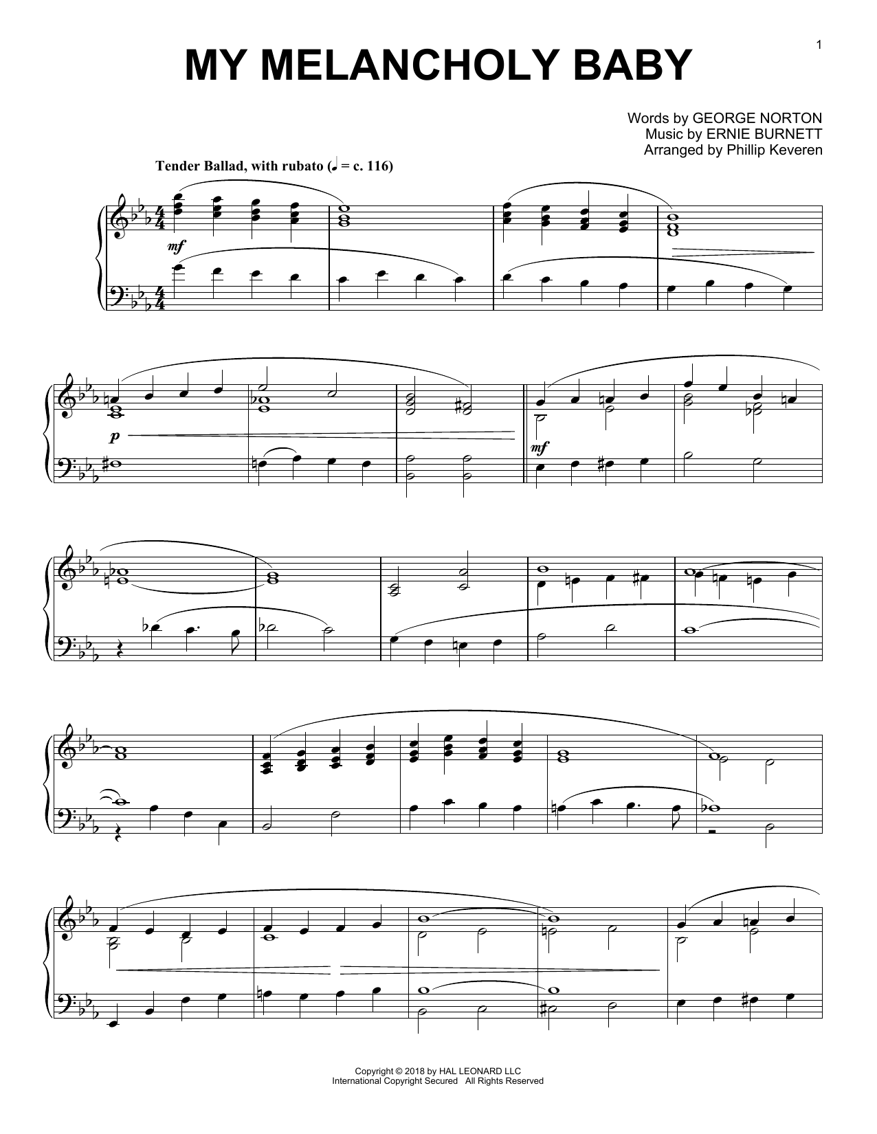 George A. Norton My Melancholy Baby (arr. Phillip Keveren) sheet music notes and chords