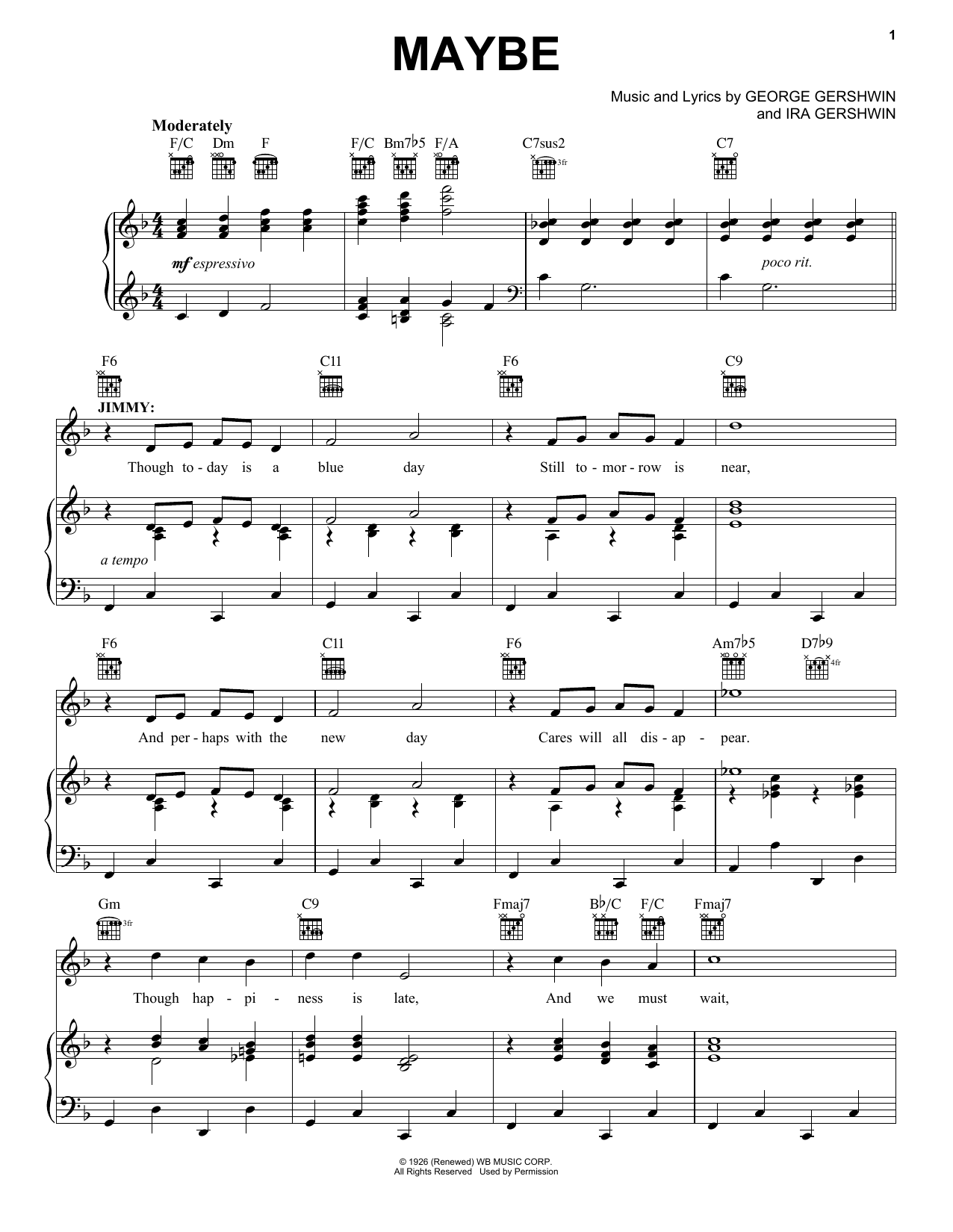 George and Ira Gershwin Maybe sheet music notes and chords. Download Printable PDF.