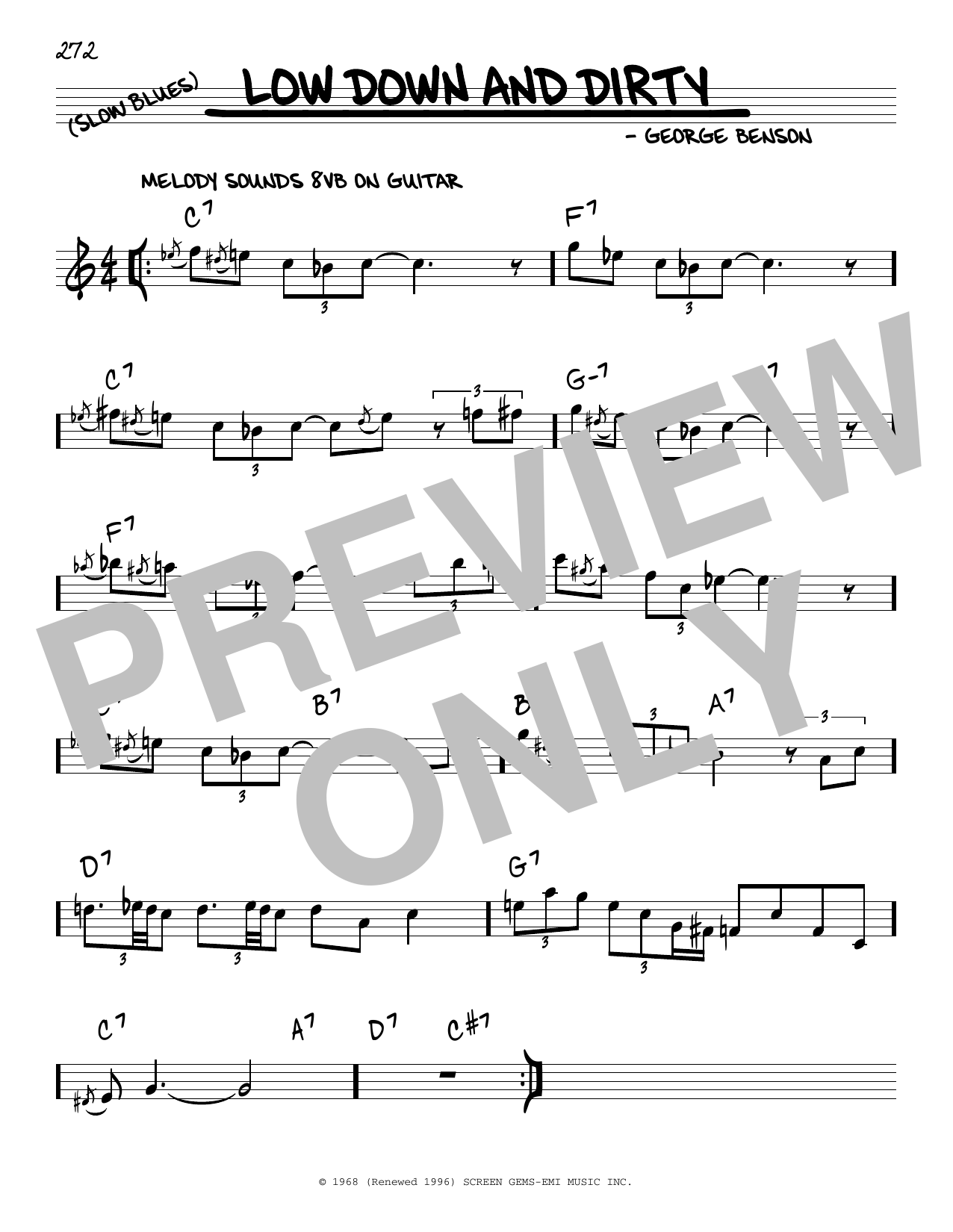 George Benson Low Down And Dirty sheet music notes and chords. Download Printable PDF.