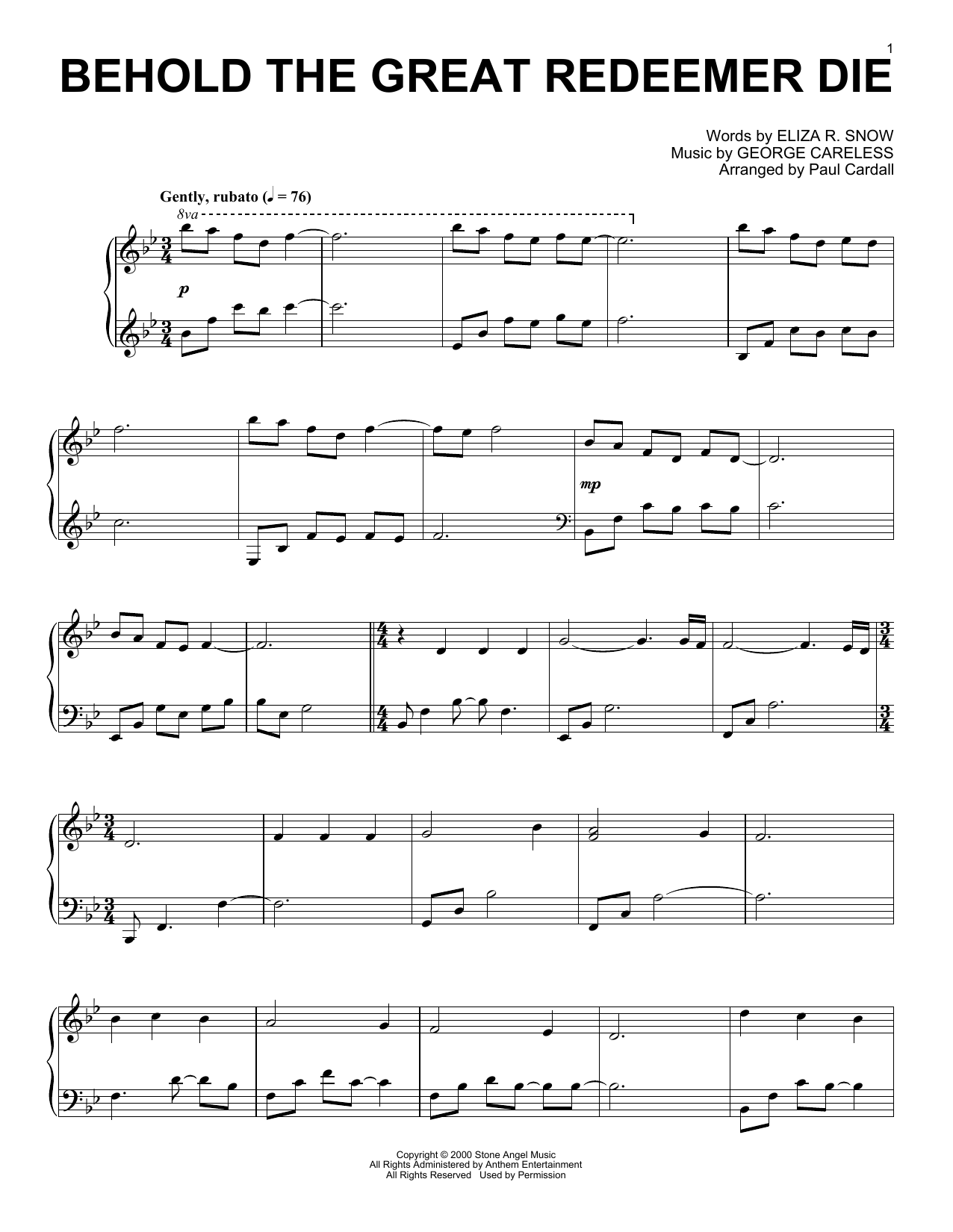 George Careless Behold The Great Redeemer Die (arr. Paul Cardall) sheet music notes and chords. Download Printable PDF.