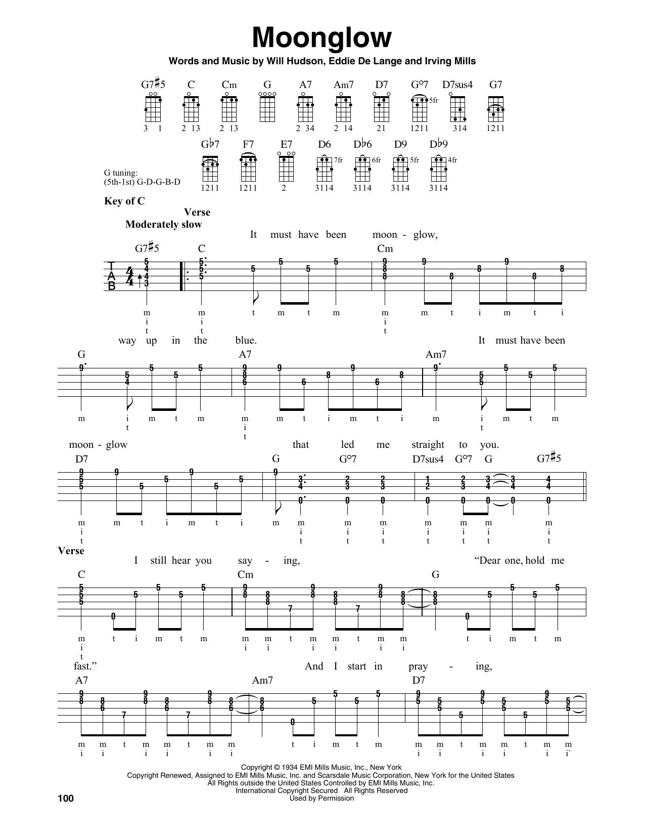 George Cates 'Moonglow' Sheet Music Notes, Chords | Download Printable  Banjo Tab - SKU: 185455