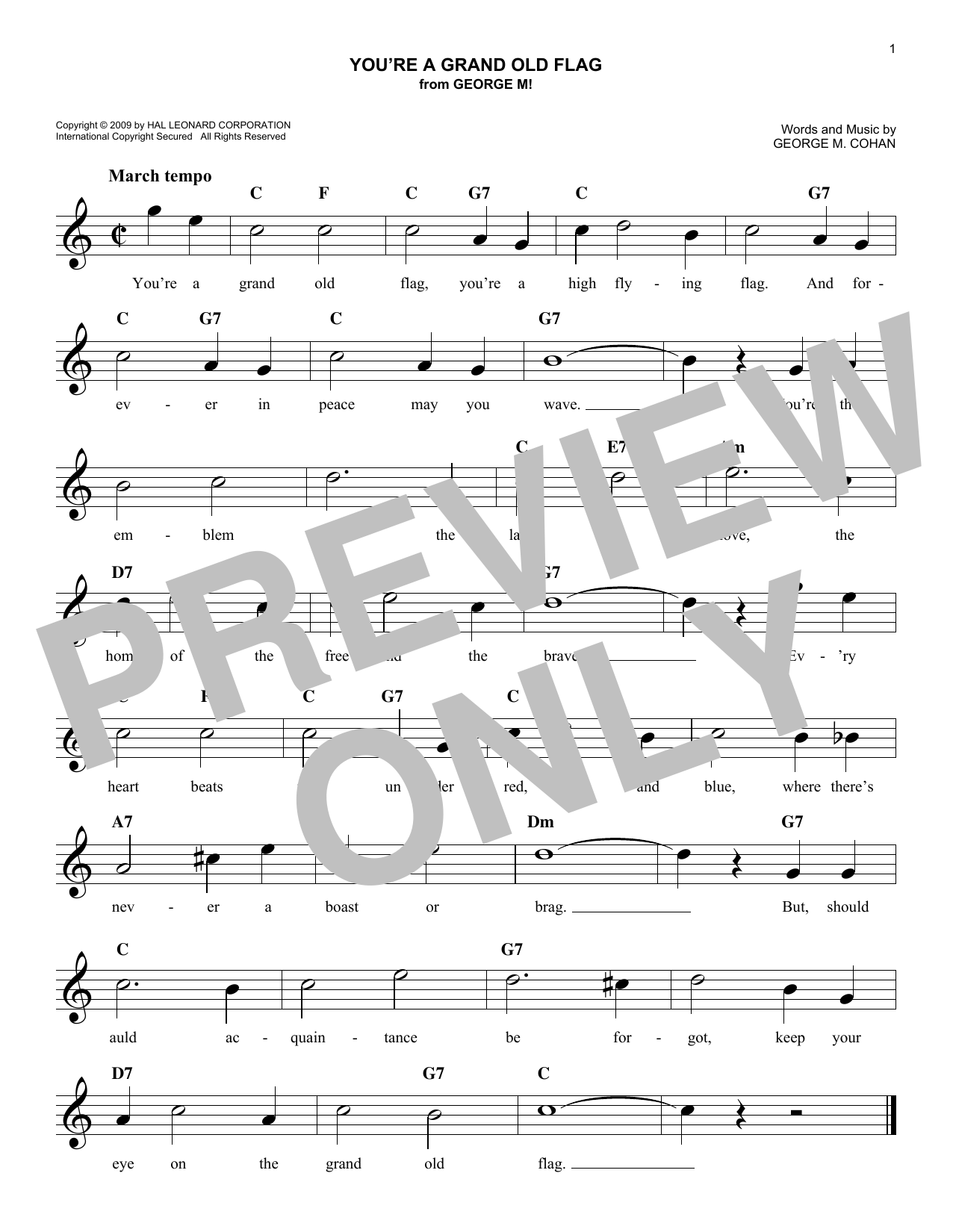 George Cohan You're A Grand Old Flag sheet music notes and chords. Download Printable PDF.