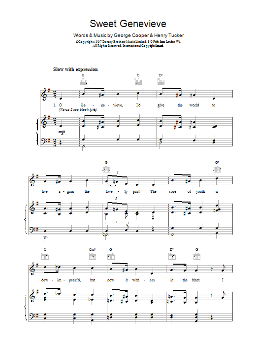 George Cooper & Henry Tucker Sweet Genevieve sheet music notes and chords. Download Printable PDF.