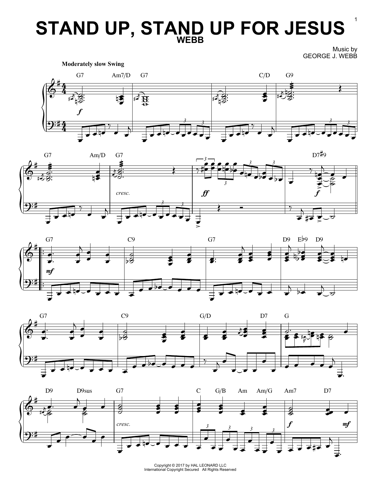 George Duffield, Jr. Stand Up, Stand Up For Jesus [Jazz version] sheet music notes and chords. Download Printable PDF.