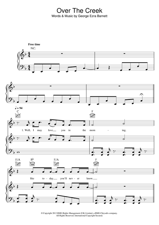 George Ezra Over The Creek sheet music notes and chords