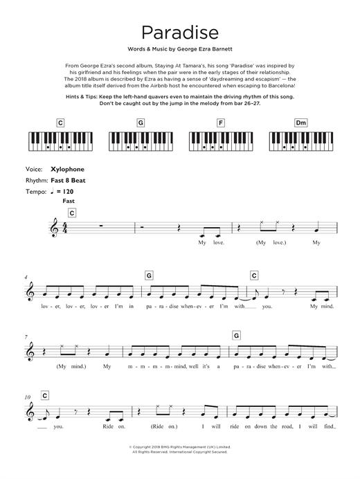 George Ezra Paradise sheet music notes and chords. Download Printable PDF.