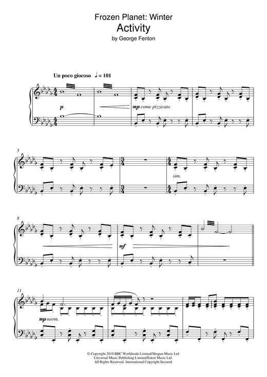 George Fenton Frozen Planet, Activity sheet music notes and chords. Download Printable PDF.