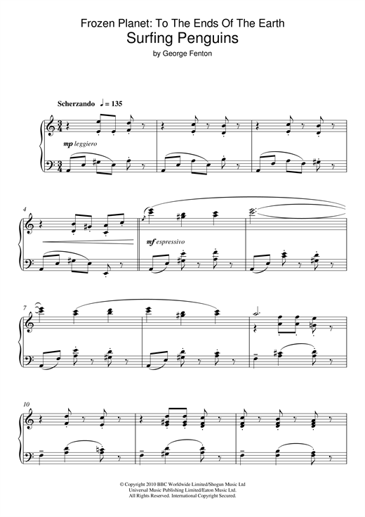 George Fenton Frozen Planet, Surfing Penguins sheet music notes and chords. Download Printable PDF.