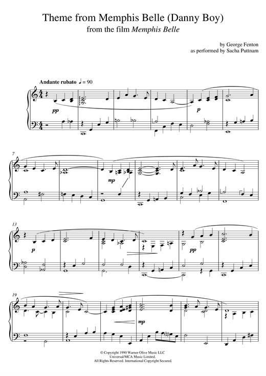 George Fenton Memphis Belle (Main Title) (as performed by Sacha Puttnam) sheet music notes and chords