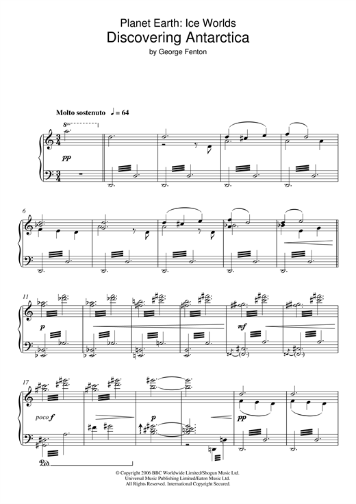 George Fenton Planet Earth: Discovering Antarctica sheet music notes and chords. Download Printable PDF.