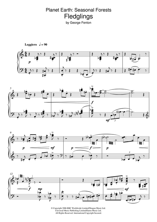 George Fenton Planet Earth: Fledglings sheet music notes and chords. Download Printable PDF.
