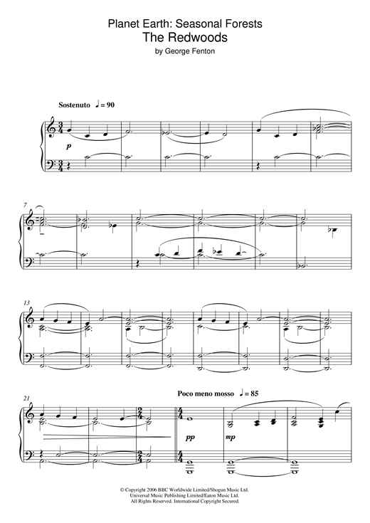 George Fenton Planet Earth: The Redwoods sheet music notes and chords. Download Printable PDF.