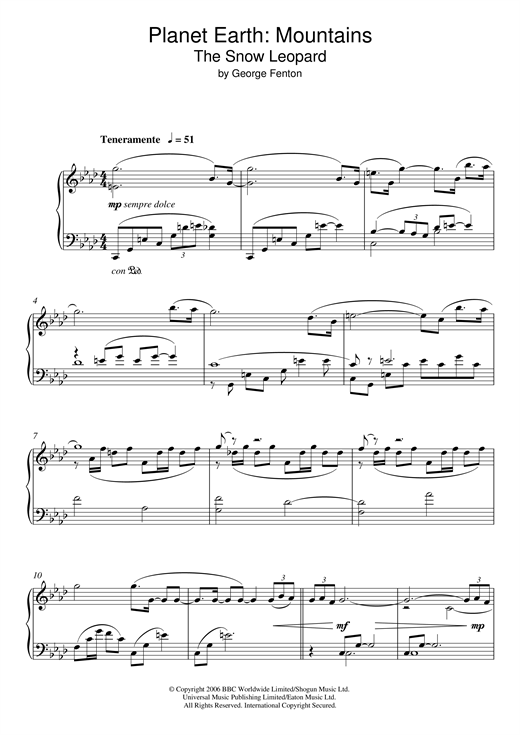 George Fenton Planet Earth: The Snow Leopard sheet music notes and chords. Download Printable PDF.