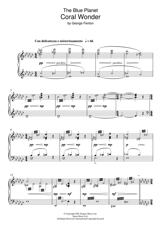 George Fenton The Blue Planet: Coral Wonder sheet music notes and chords. Download Printable PDF.