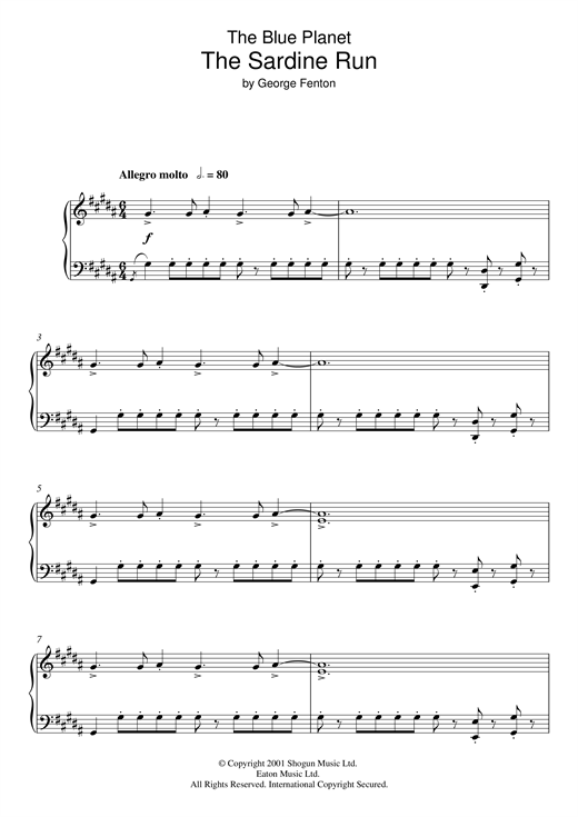 George Fenton The Blue Planet, Sardine Run sheet music notes and chords. Download Printable PDF.