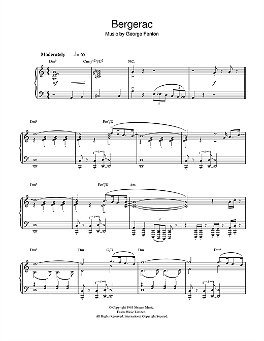 George Fenton Theme from Bergerac sheet music notes and chords. Download Printable PDF.