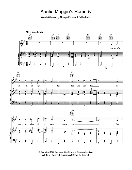 George Formby Auntie Maggie's Remedy sheet music notes and chords. Download Printable PDF.