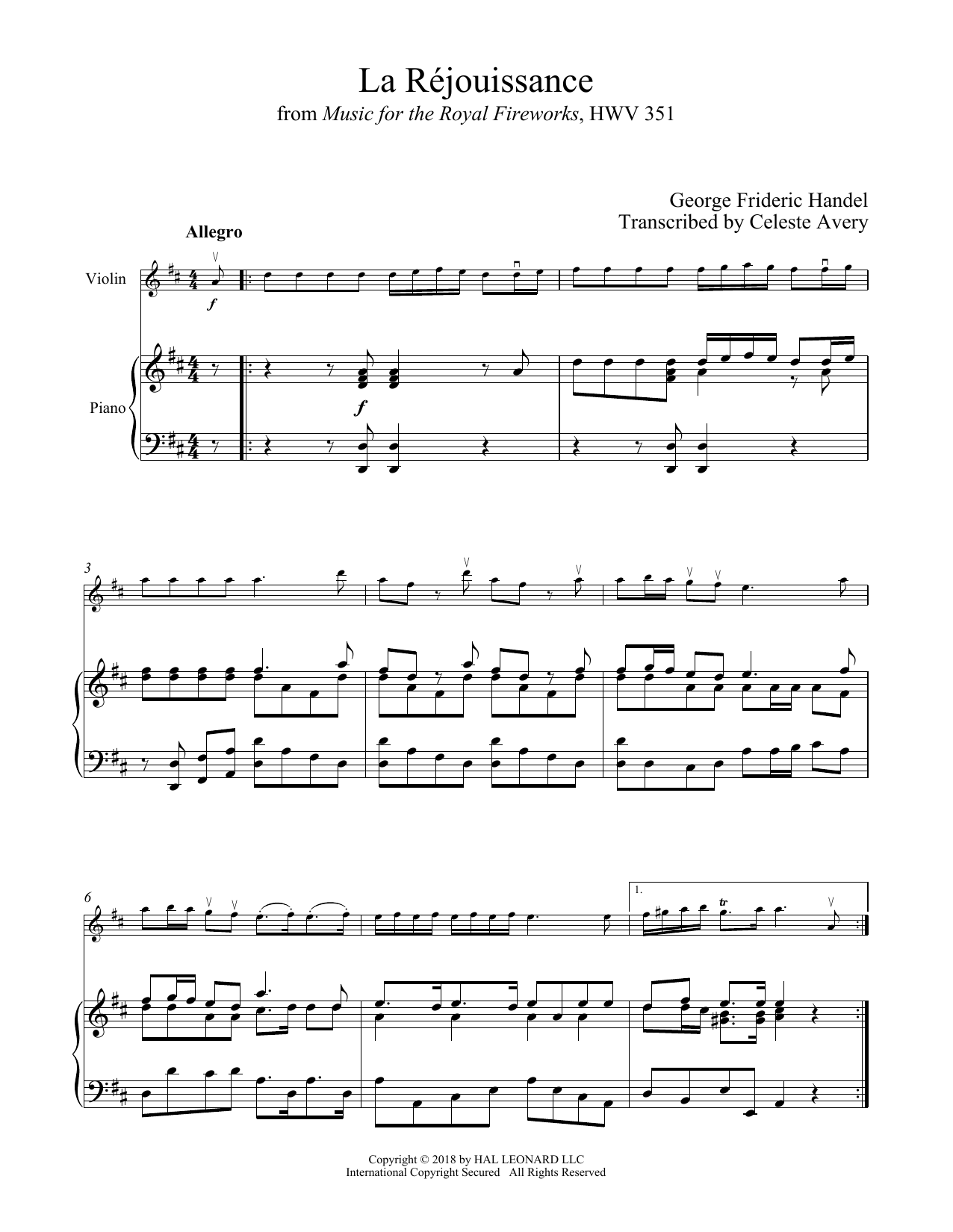 George Frederic Handel La Rejouissance sheet music notes and chords. Download Printable PDF.
