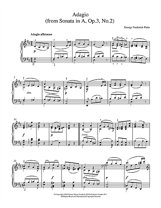 George Frederick Pinto Adagio Op.3 No.2 sheet music notes and chords