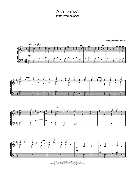 George Frideric Handel Alla Danza sheet music notes and chords. Download Printable PDF.