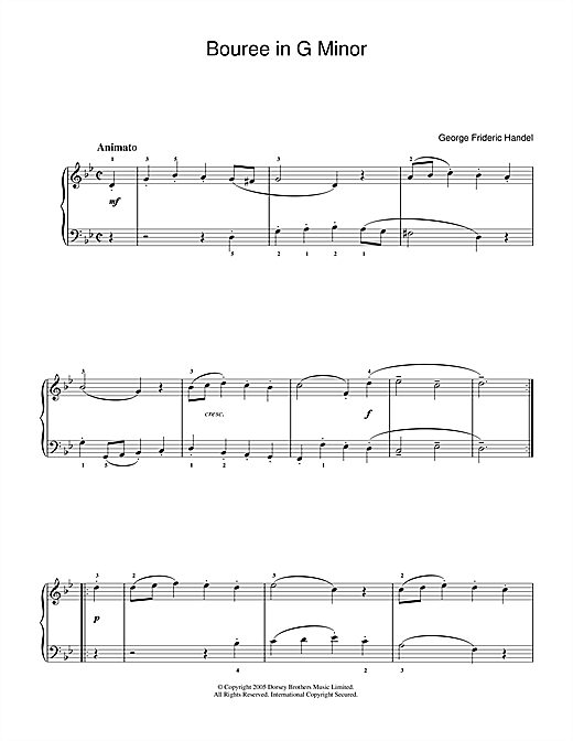 George Frideric Handel Bouree In G Minor sheet music notes and chords. Download Printable PDF.
