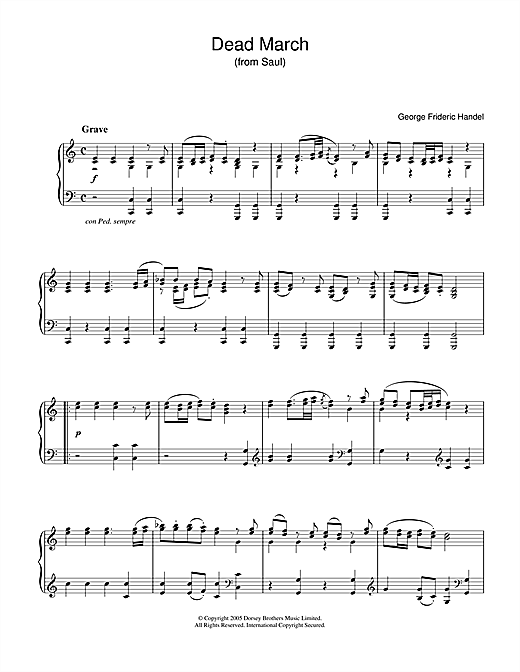 George Frideric Handel Dead March (from Saul) sheet music notes and chords