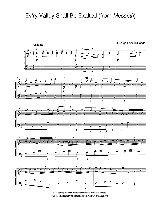 George Frideric Handel Ev'ry Valley Shall Be Exalted (from Messiah) sheet music notes and chords. Download Printable PDF.