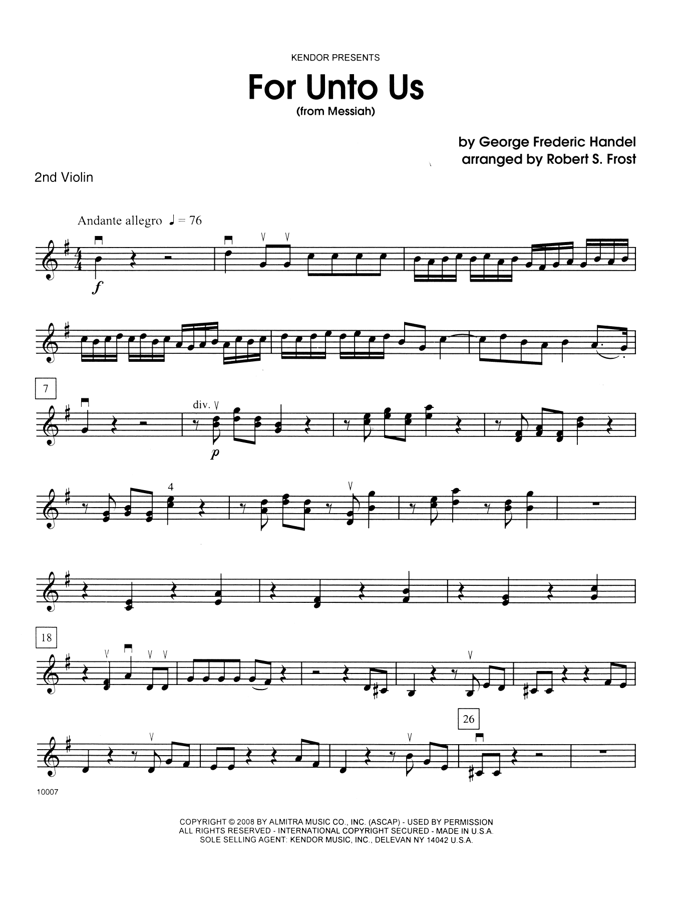 George Frideric Handel For Unto Us (from Messiah) - 2nd Violin sheet music notes and chords. Download Printable PDF.