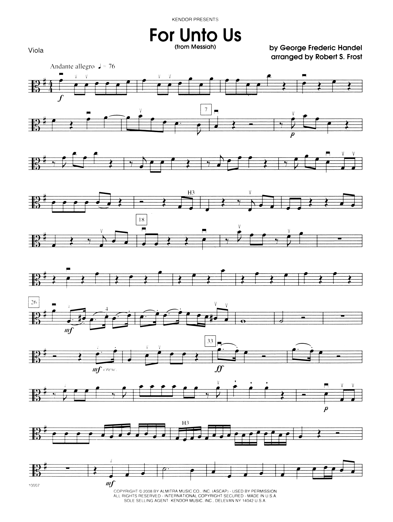 George Frideric Handel For Unto Us (from Messiah) - Viola sheet music notes and chords. Download Printable PDF.