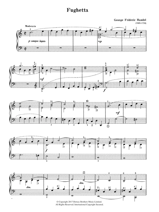 George Frideric Handel Fughetta sheet music notes and chords