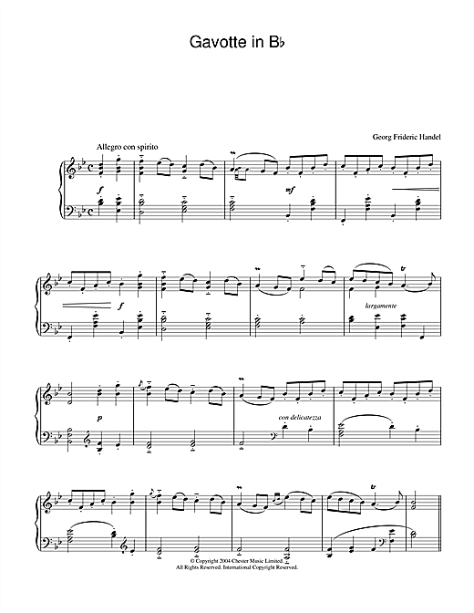 George Frideric Handel Gavotte in B Flat sheet music notes and chords. Download Printable PDF.