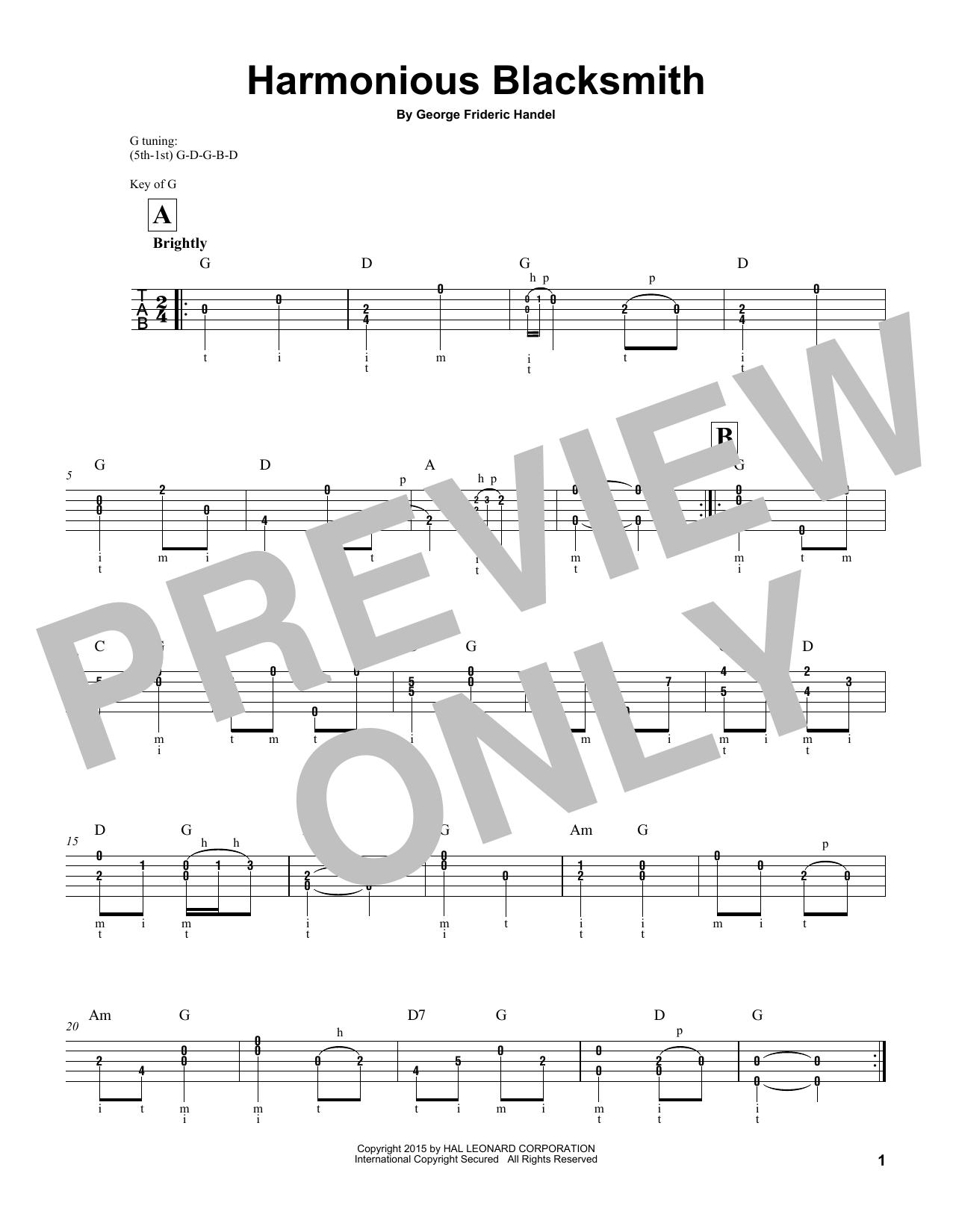 George Frideric Handel Harmonious Blacksmith sheet music notes and chords. Download Printable PDF.
