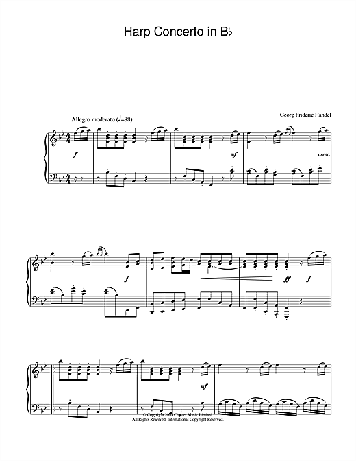 George Frideric Handel Harp Concerto in B Flat sheet music notes and chords. Download Printable PDF.