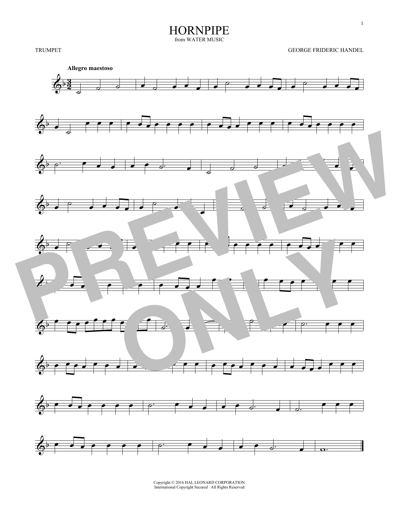 George Frideric Handel Hornpipe sheet music notes and chords. Download Printable PDF.