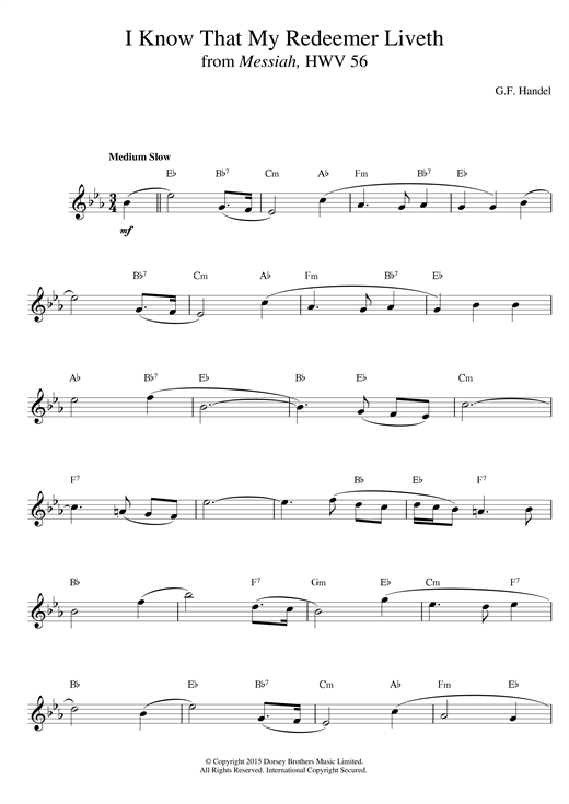 George Frideric Handel I Know That My Redeemer Liveth (from Messiah) sheet music notes and chords. Download Printable PDF.