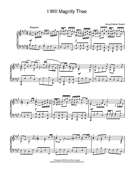 George Frideric Handel I Will Magnify Thee sheet music notes and chords. Download Printable PDF.