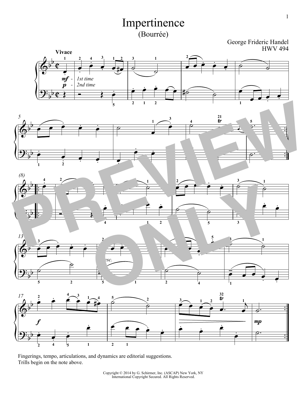 George Frideric Handel Impertinence, HWV 494 sheet music notes and chords