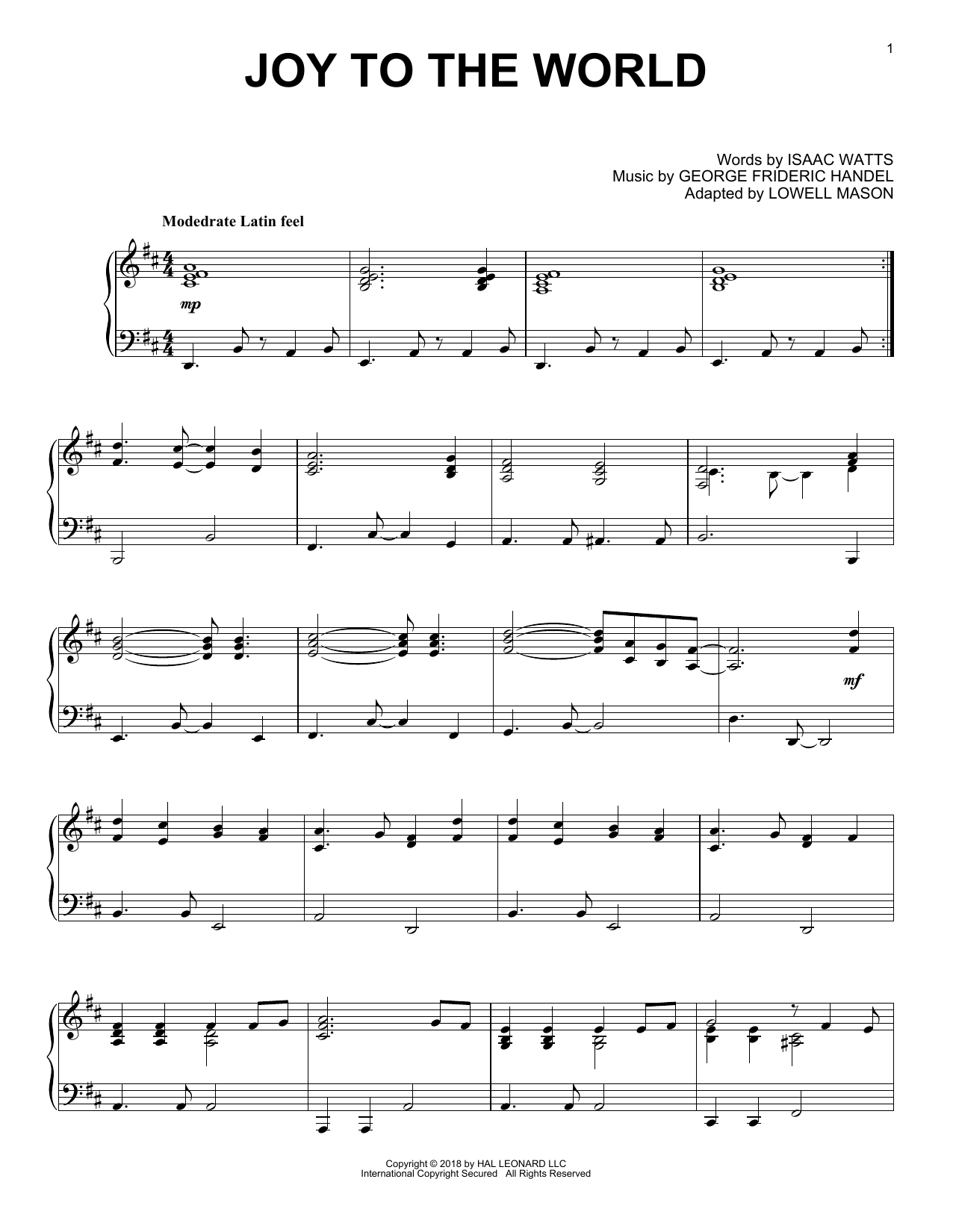 George Frideric Handel Joy To The World [Jazz version] sheet music notes and chords. Download Printable PDF.