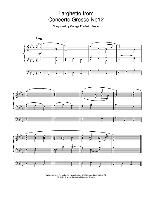 George Frideric Handel Larghetto from Concerto Grosso No.12 sheet music notes and chords. Download Printable PDF.