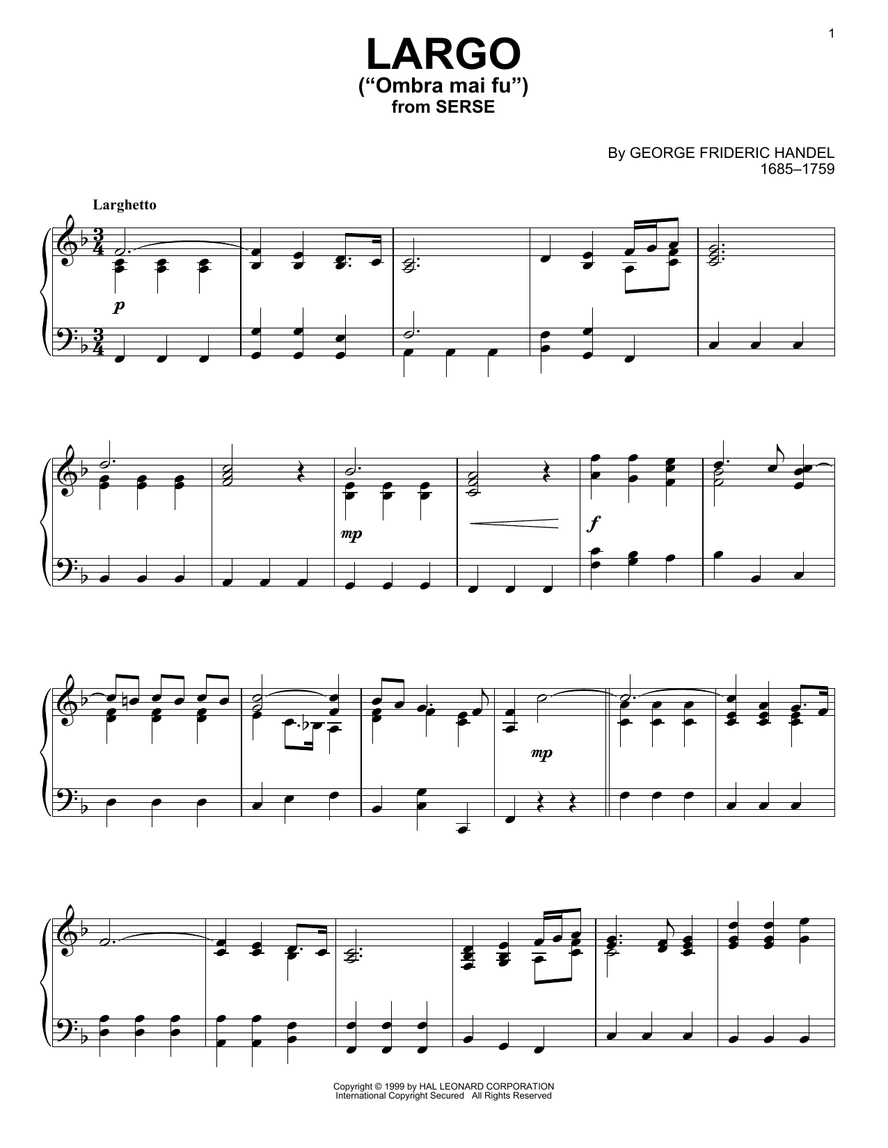 George Frideric Handel Largo sheet music notes and chords. Download Printable PDF.